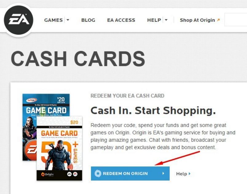 EA Origin Cash Card - Redeem Guide