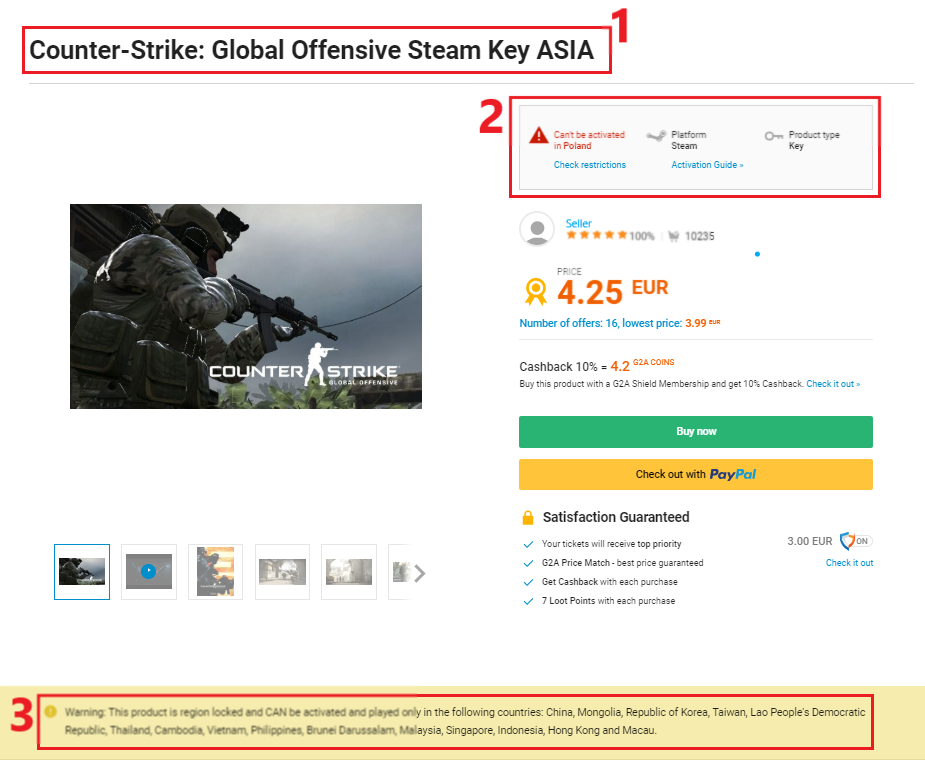 how can i check if a product on g2a com can be activated in my