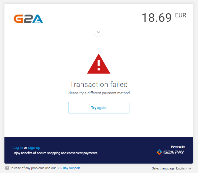 My transaction has failed  What should I do? - Support Hub - G2A COM